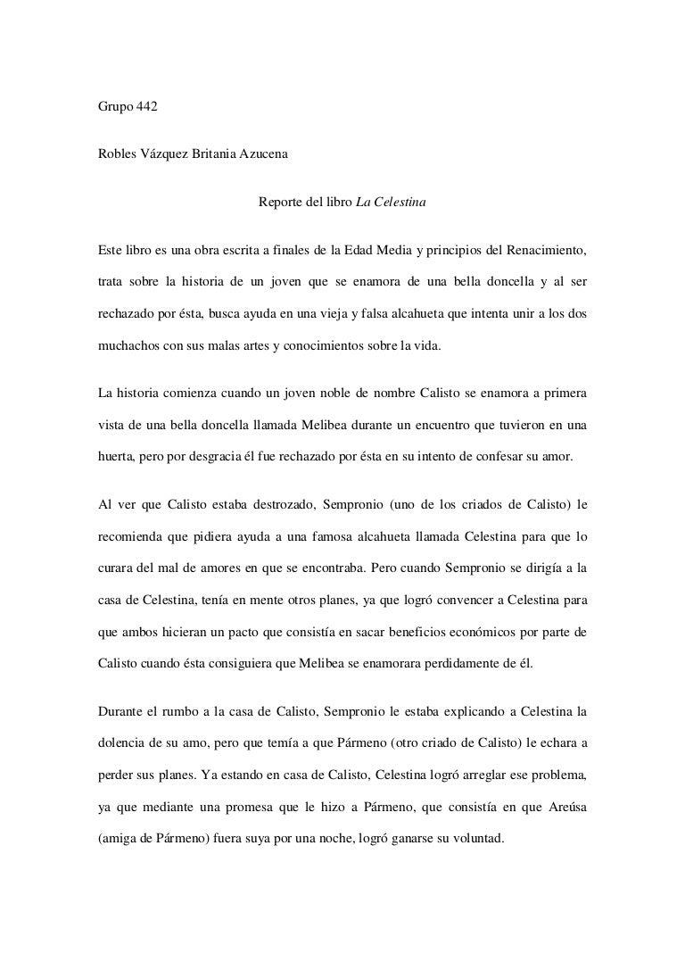 Reporte La Celestina