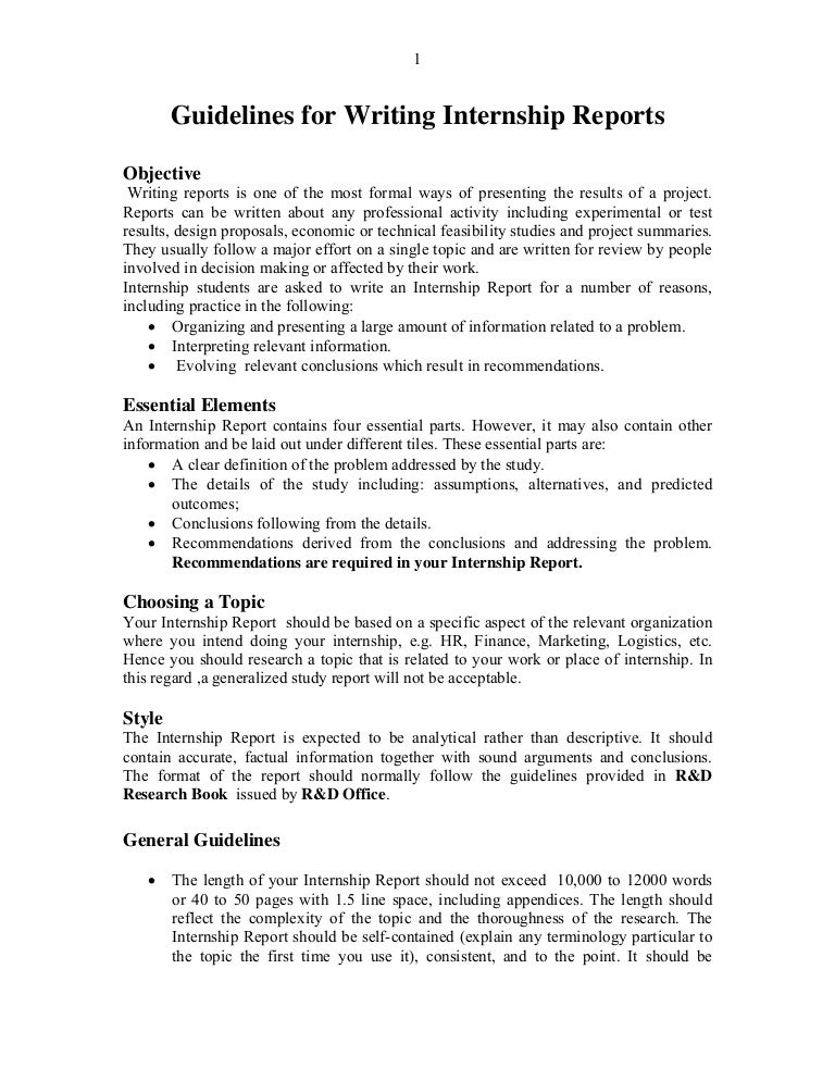 Report format – Internship Report Sample