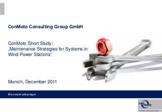 Report Maintenance Excellence - Wind Power Stations