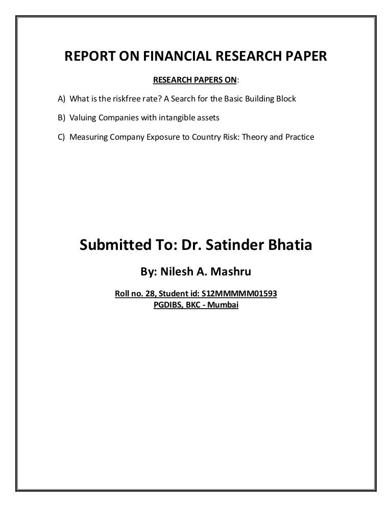 Financial research paper
