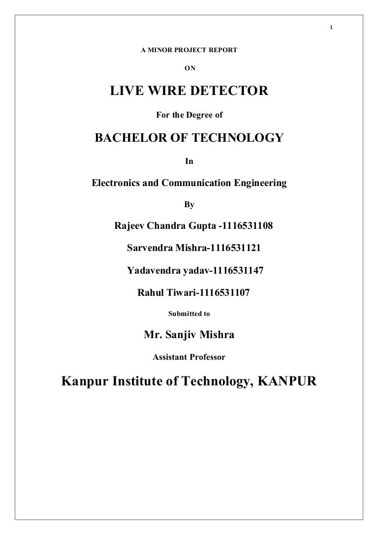 Report On Live Wire Detector Wiring Number Tags