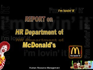 Report on McDonald's HR Management