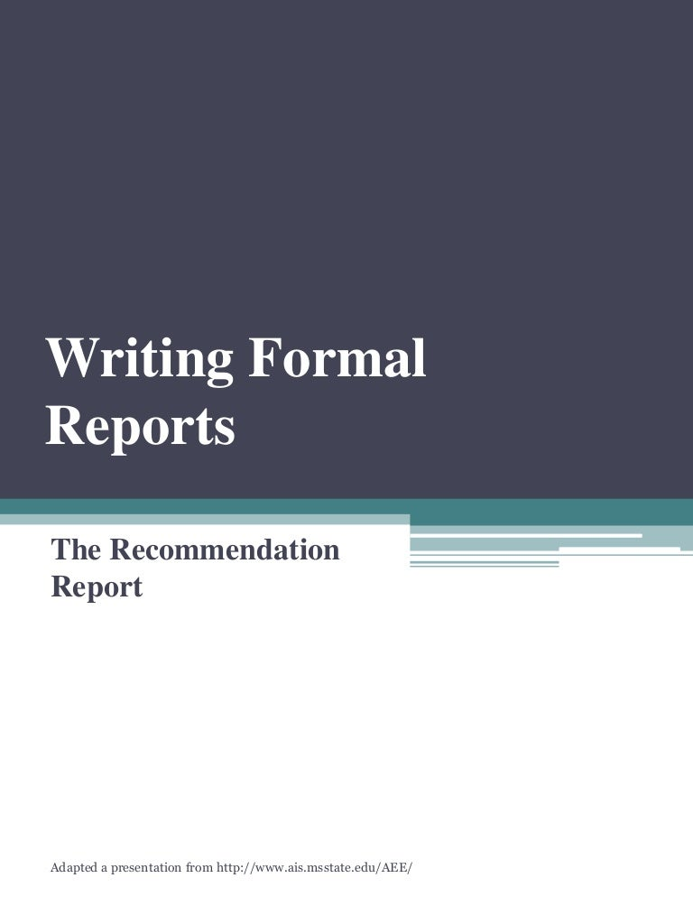 Recommendation Report – Formal Reports Samples