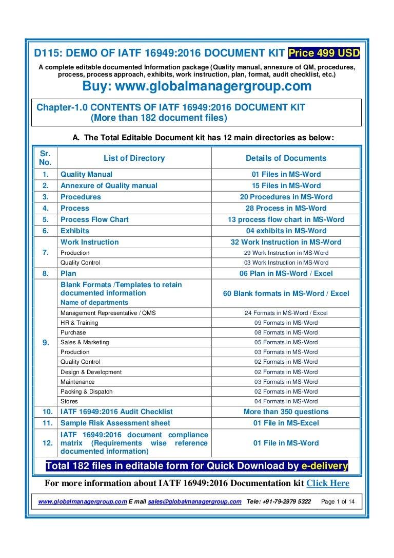List of mandatory IATF 16949 documents