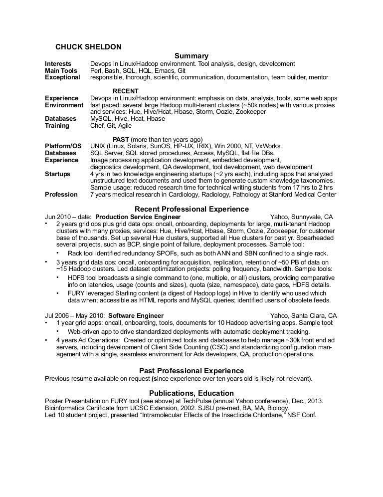 chuck sheldons resume