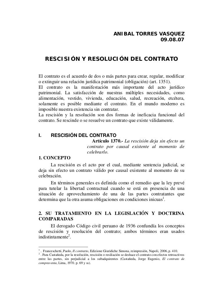 Rescision y resolucion for Acuerdo laboral modelo