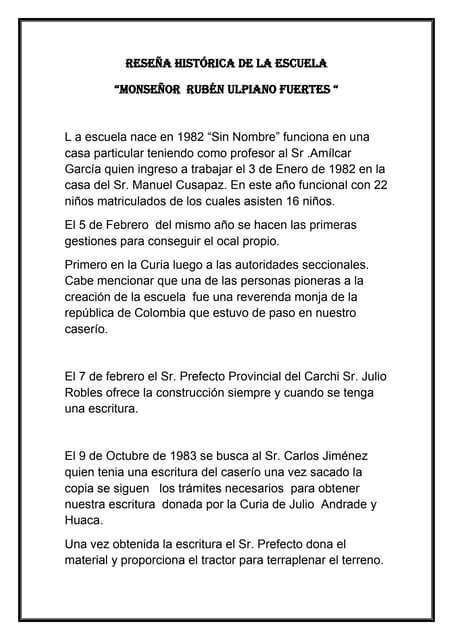 RESEÑA HISTÓRICA DE LA ESCUELA MONSEÑOR RUBÉN ULPIANO FUERTES