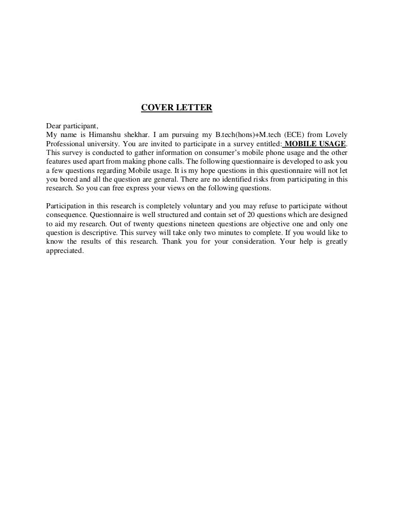 questionnaire on mobile usage - Sample Questionnaire Cover Letter