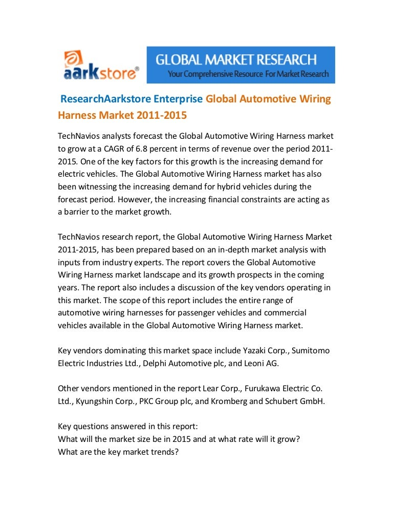 Research Aarkstore Enterprise Global Automotive Wiring Harness Market U2026