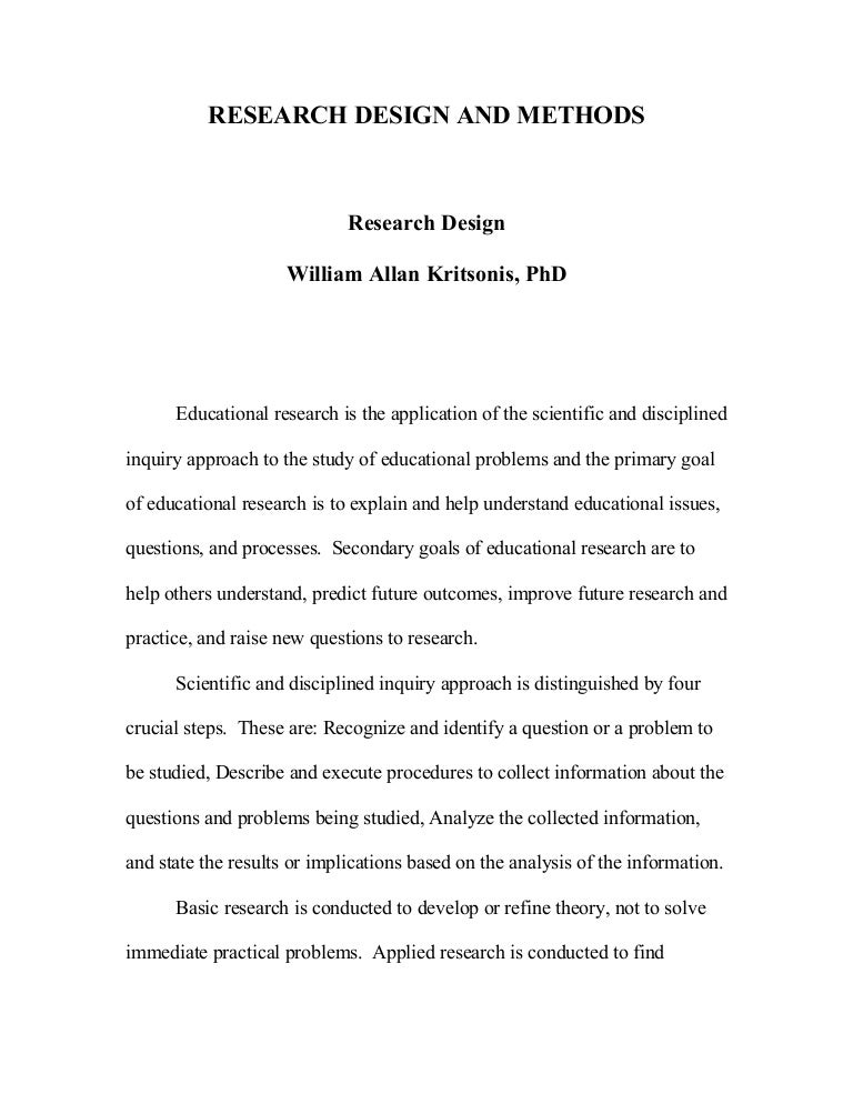 Research Design And Methodology Dr Wa Kritsonis