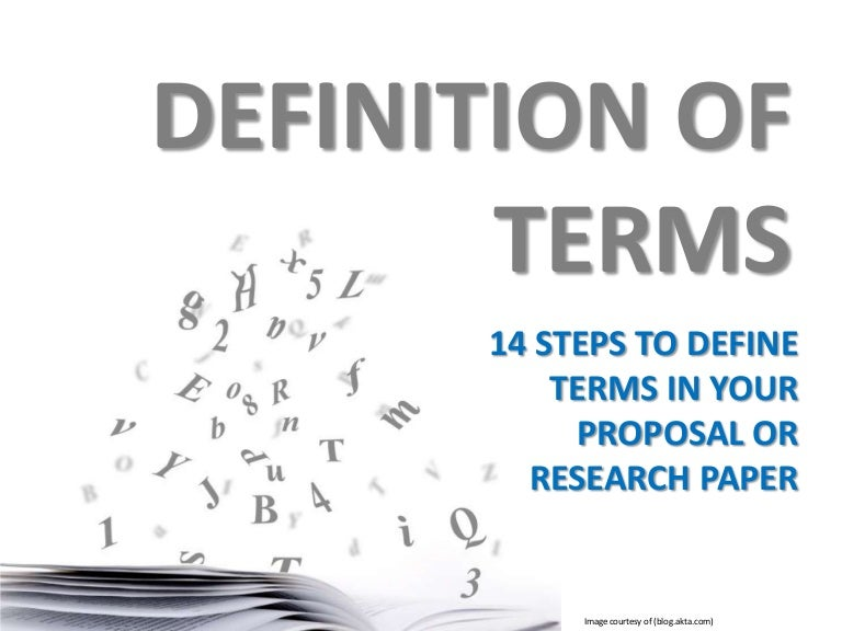 research or proposal writing definition of terms