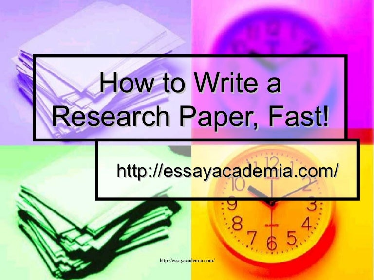 best way to write a research paper fast When writing a research paper, it is important to remember that it is different to an essay in that it includes information and ideas from other sources the best way to record all documentation is with a bibliography and can be done in different styles depending on the type of research paper.