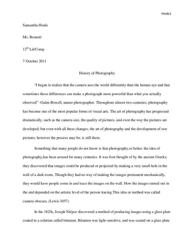 Photography research paper