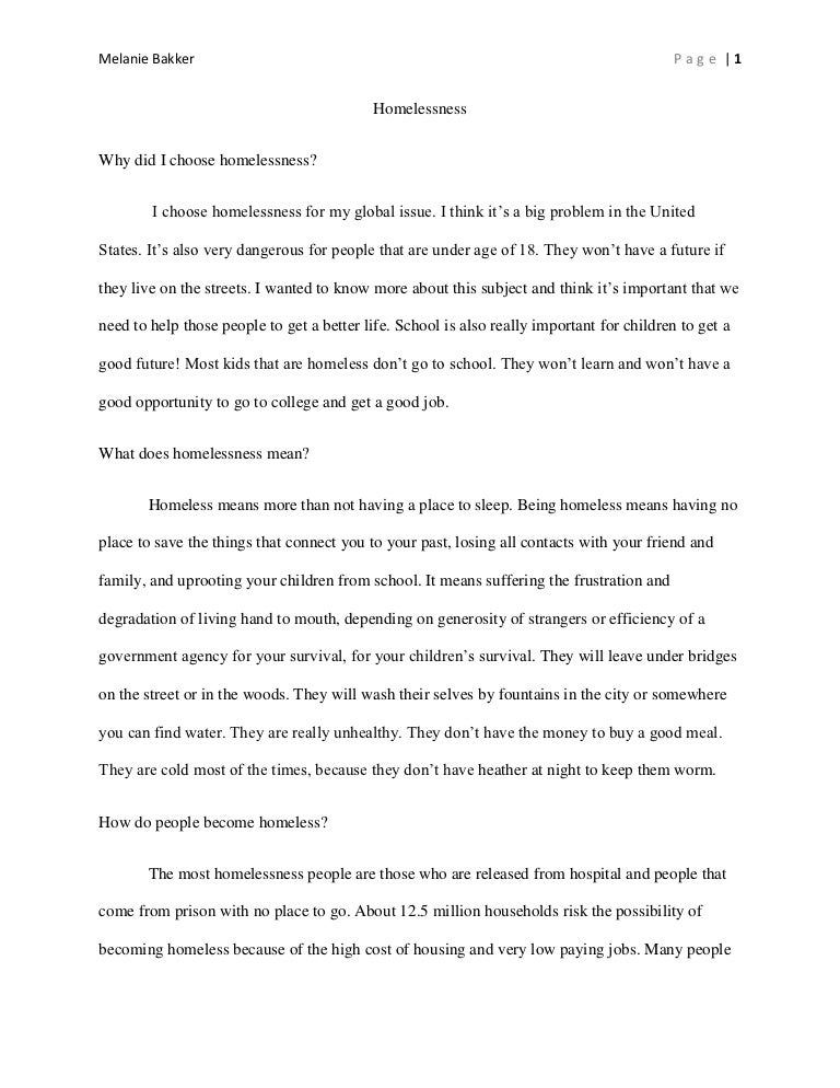 Help homeless essay