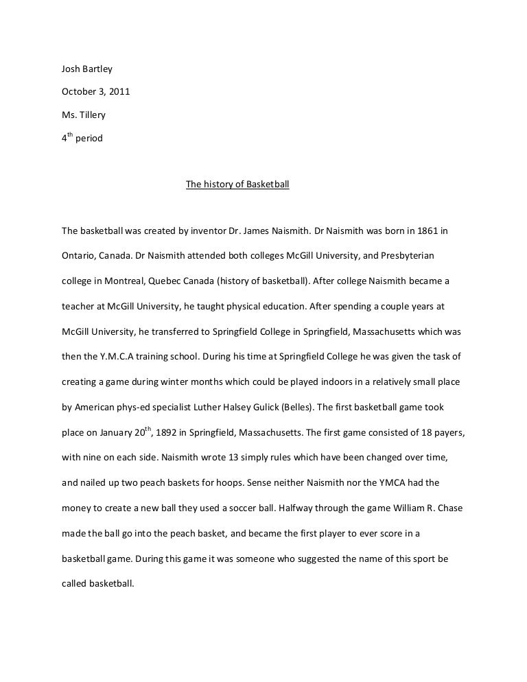 Senior project research paper on basketball