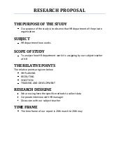 Business Research Methods Proposal Outline