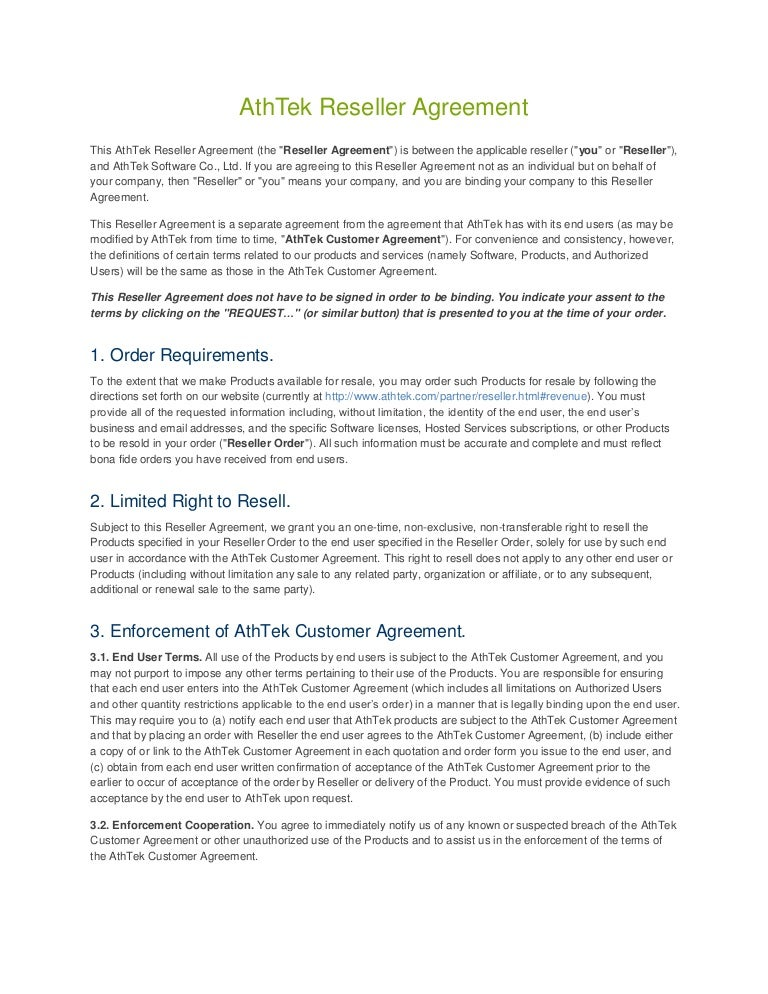AthTek Reseller Agreement Template – Sample Reseller Agreement