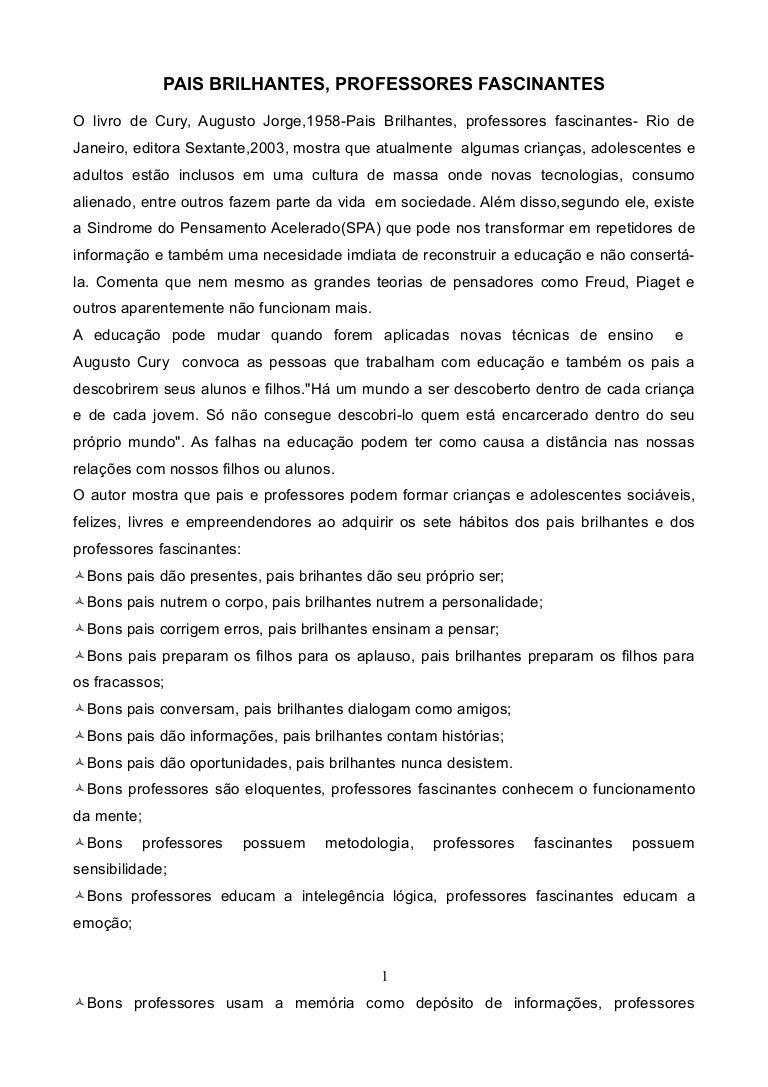 FASCINANTES AUGUSTO FILHOS LIVRO BAIXAR CURY DE ALUNOS BRILHANTES