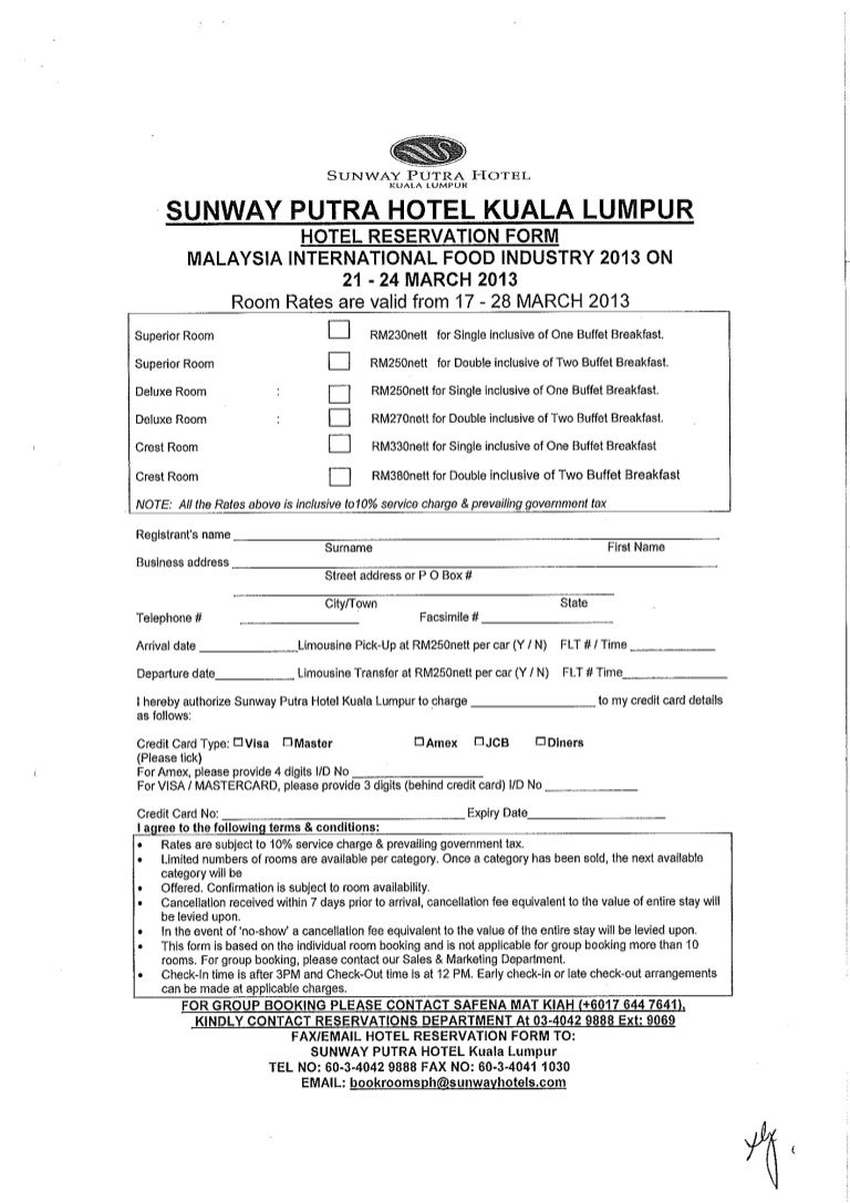 Hotel Reservation Form Malaysia International Food Industry 21 24 Ma