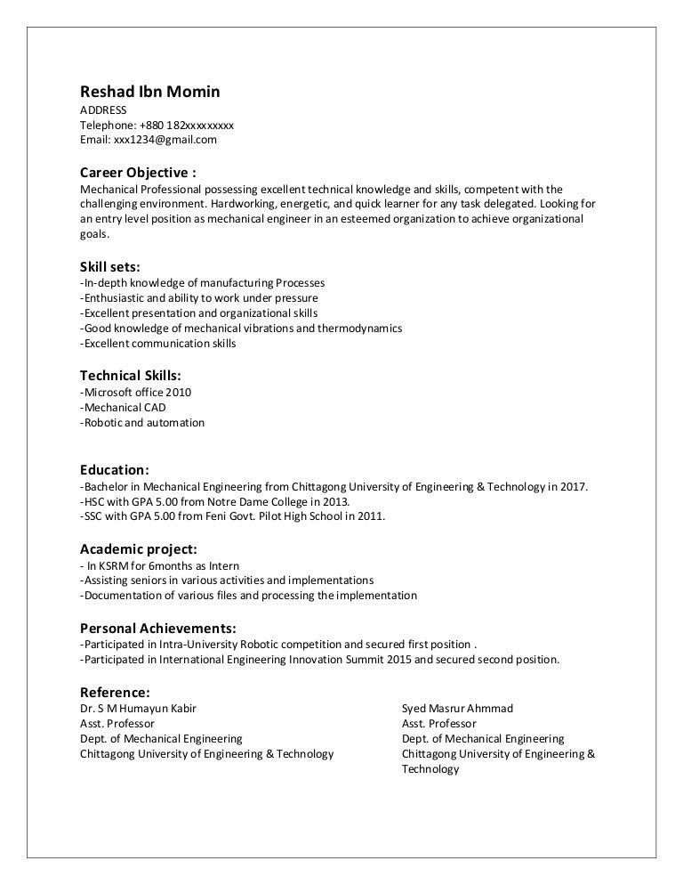 CV Entry Level Mechanical Engineer – Mechanical Engineering Entry Level