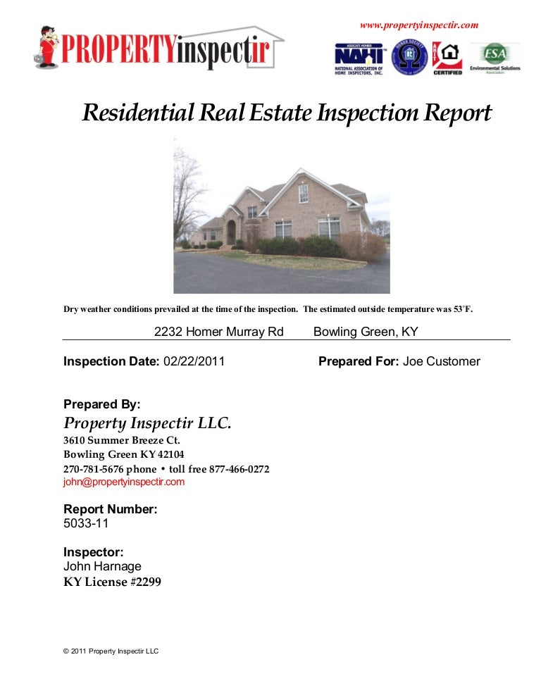 Home Inspection Report Template  Ex