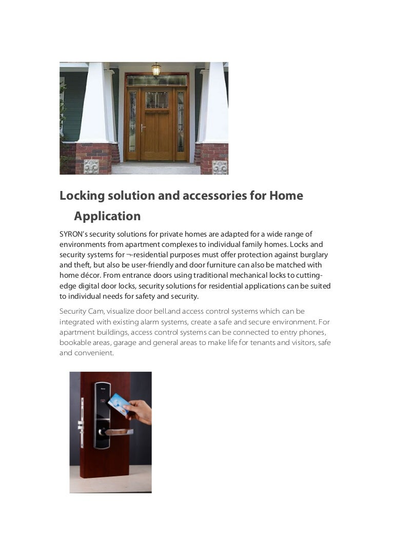 SYRON] Residential locking solution