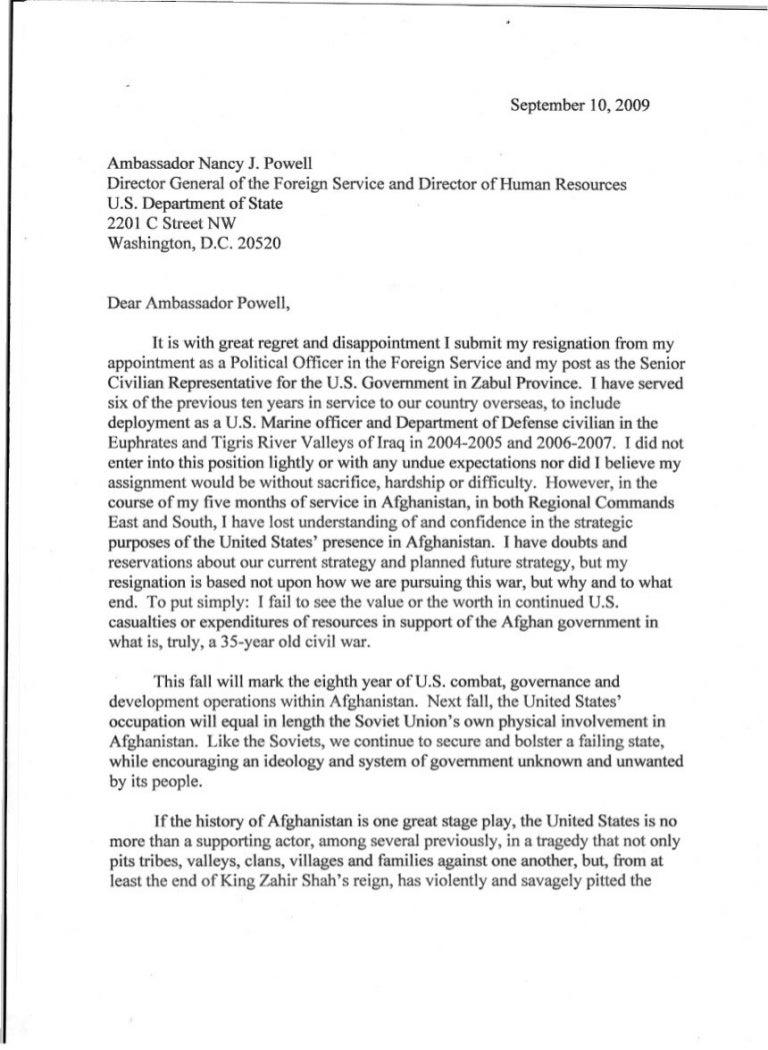 Resignation Letter – Union Resignation Letter