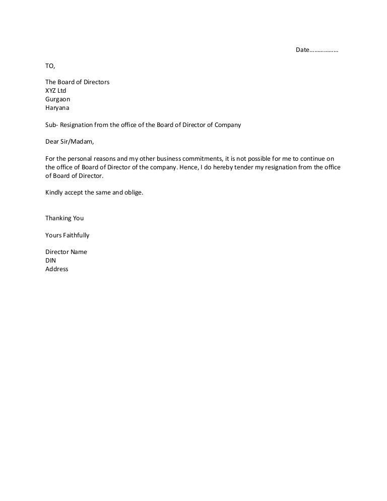 Resignation letter – Board Resignation Letter