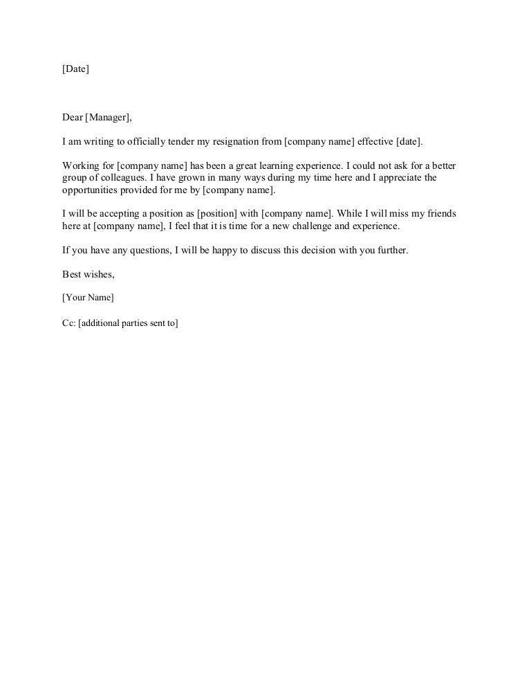 tendering my resignation