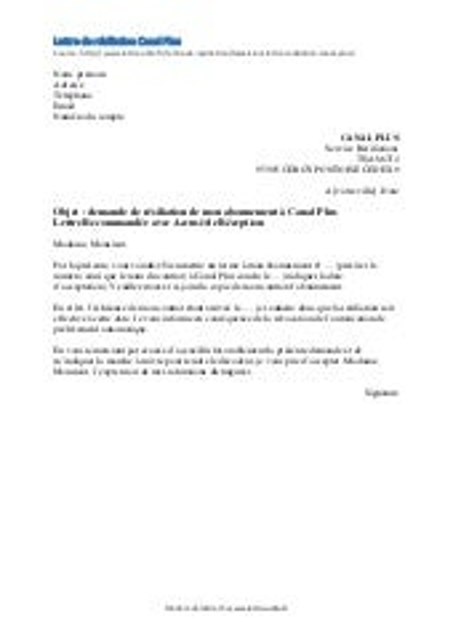 Resiliation Canal Plus Canal Modele De Lettre Gratuit