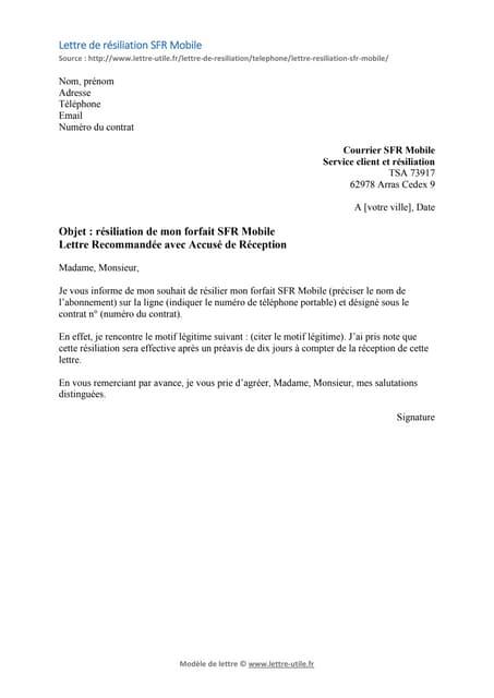 Resiliation Freemobile Modele De Lettre Gratuit