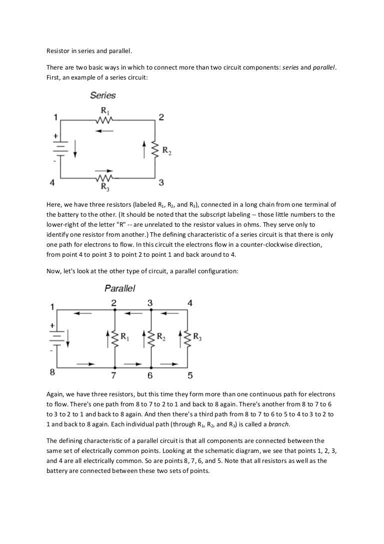Resistor In Series And Parallel Battery Circuit