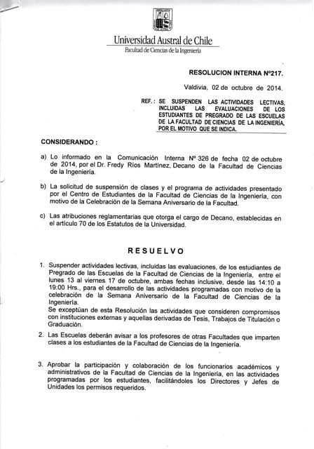 Resolución Semana Aniversario 2014