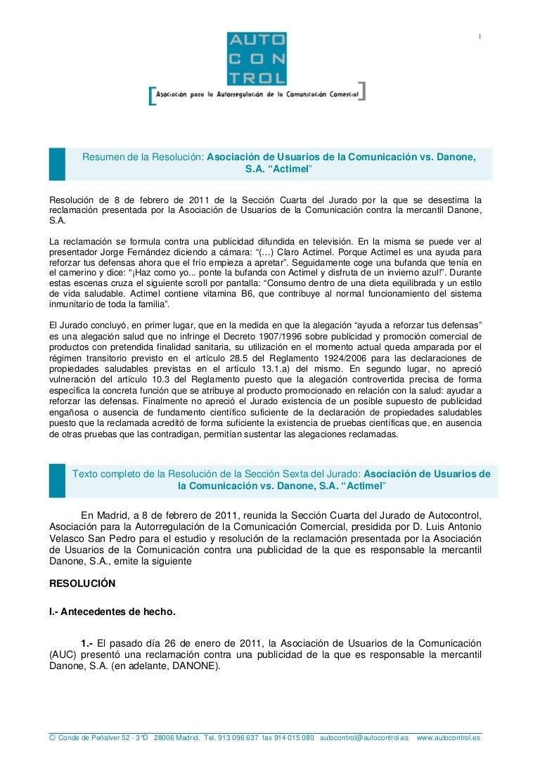 Resumen de la Resolución: Asociación de Usuarios de la Comunicación v…