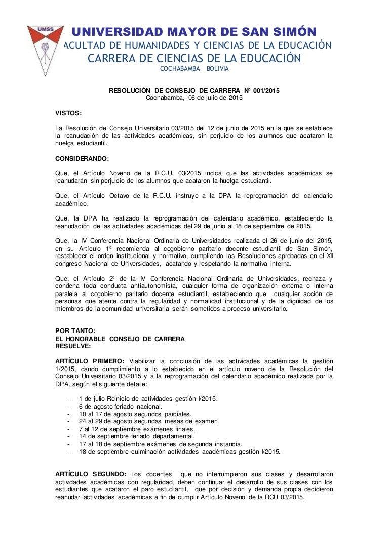 RESOLUCIÓN DE CONSEJO DE CARRERA Nº 001/2015