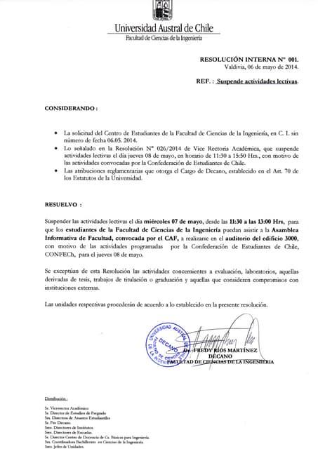Resolución n° 001 FCI