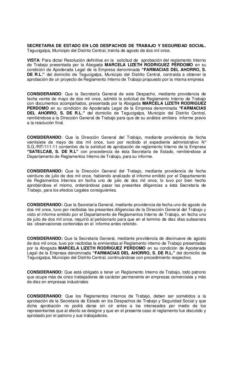 Resolucion reglamento interno de trabajo de la empresa farmacias del …