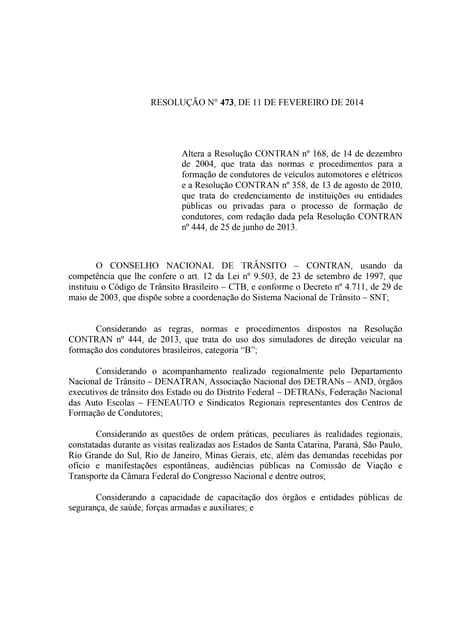 Resolução nº 473, de 11 de fevereiro de 2014