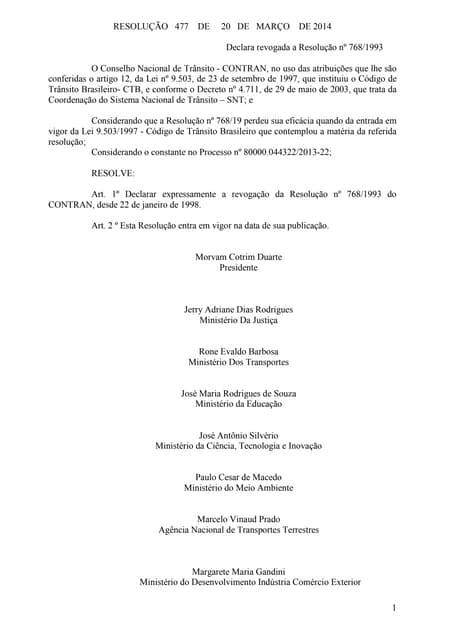 Resolução nº 477 de 20 de março de 2014