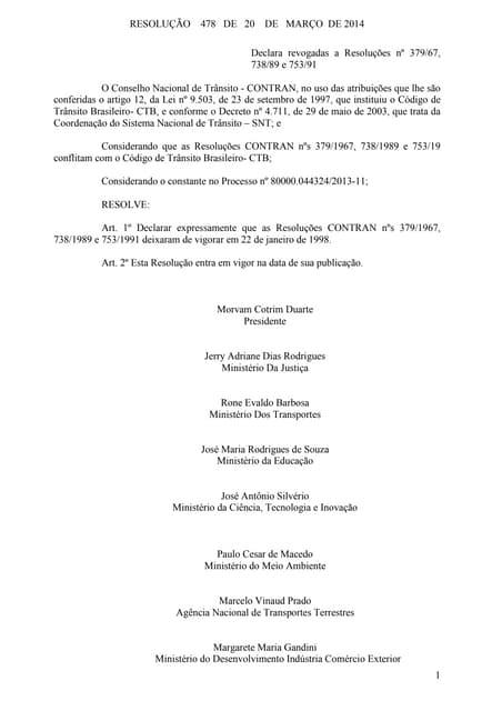 Resolução nº 478 de 20 de março de 2014