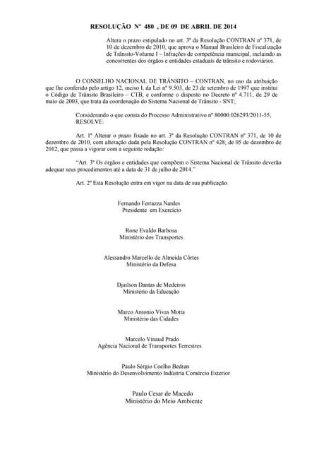 Resolução nº 480 , de 09 de abril de 2014