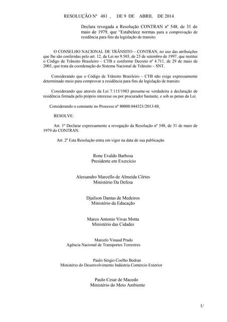 Resolução nº 481 , de 9 de abril de 2014