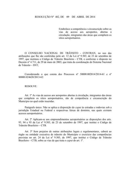 Resolução nº 482, de 09 de abril de 2014