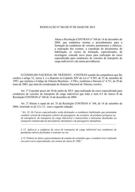 Resolução nº 484 de 07 de maio de 2014