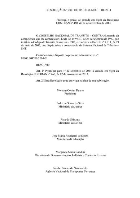 Resolução n° 490 de 05 de junho de 2014