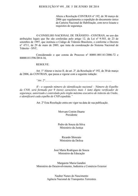 Resolução nº 491 , de 5 de junho de 2014