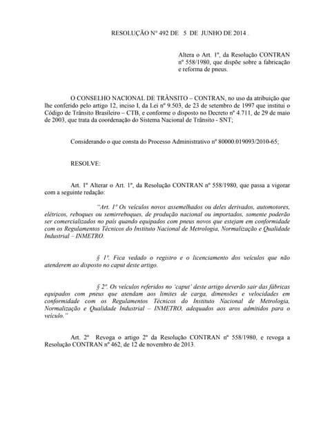 Resolução n° 492 de 5 de junho de 2014