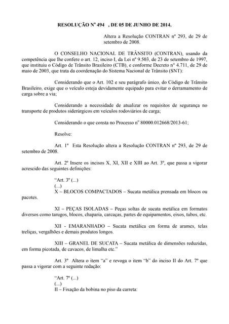 Resolução no 494 , de 05 de junho de 2014