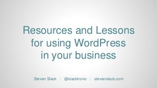 Resources and lessons for using WordPress in your business