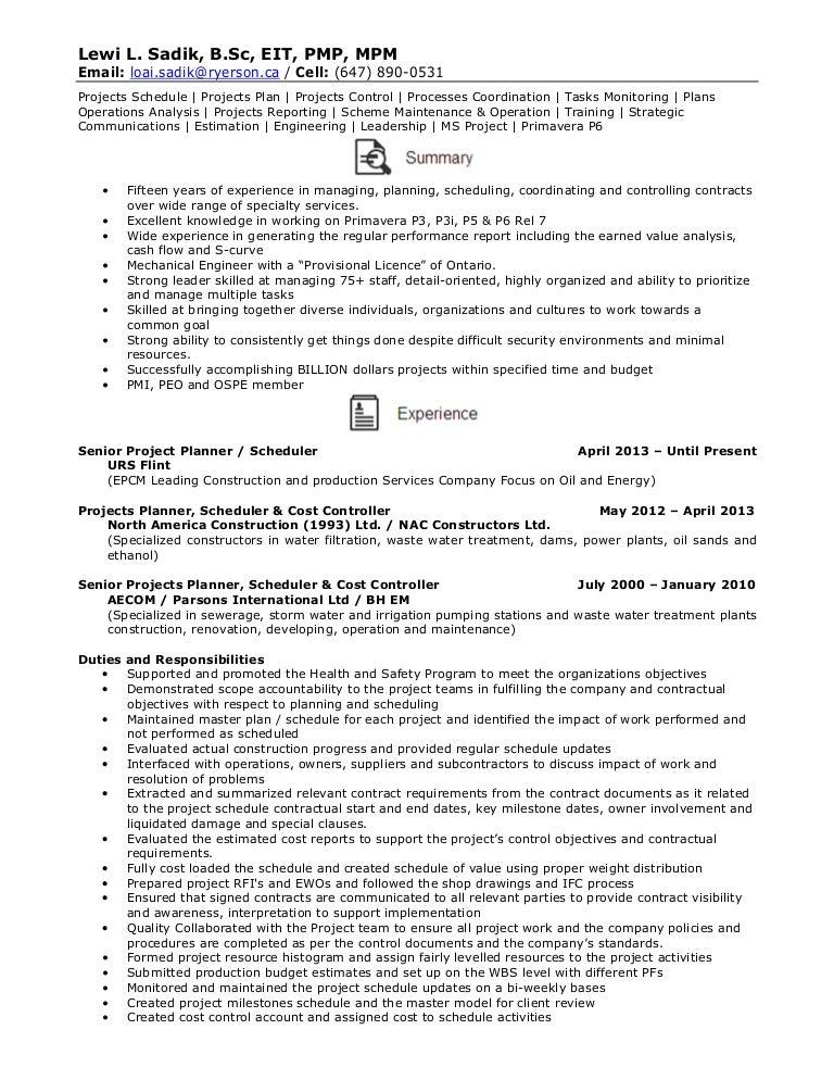 Resume - Senior Projects Planner / Schedule